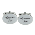 Silver Oval Wedding Cufflinks Groom